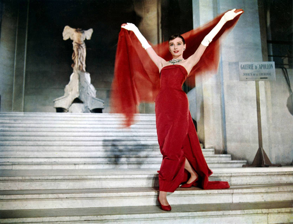 Audrey Hepburn in funny face red gown 1