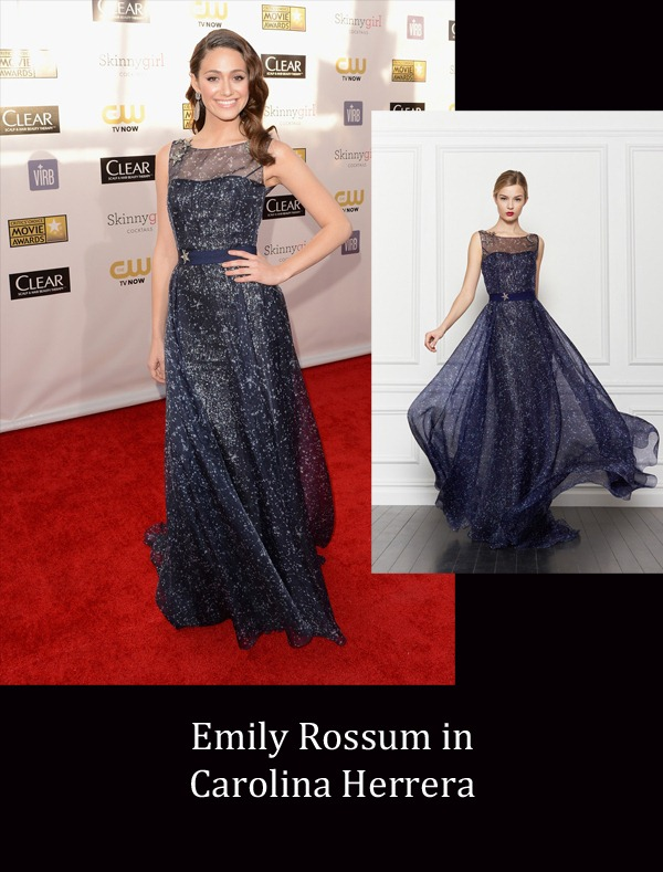 Emily Rossum in Carolina Herrera copy