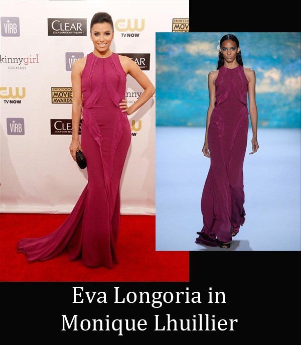 Eva Longoria in Monique Lhuillier copy